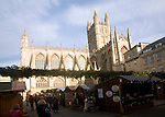 Christmas market Abbey church, Bath, England