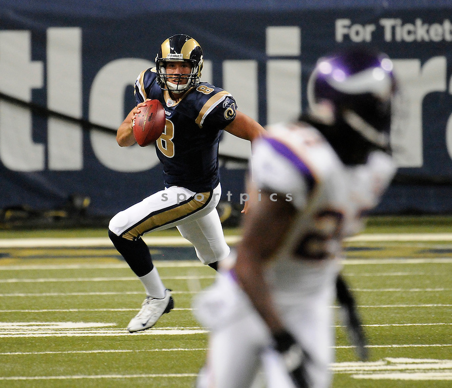 SAM BRADFORD, of the St. Louis Rams ,in action during the Rams  game against the  Minnesota Vikings at Edward Jones Dome in St. Louis Missouri on August14, 2010.  The Vikings won the game 28-17..