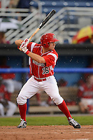 Batavia Muckdogs outfielder Connor Burke (16) at bat in the rain during a game against the Jamestown Jammers on June 27, 2013 at Dwyer Stadium in Batavia, New York.  The game was postponed during the fourth inning due to rain.  (Mike Janes/Four Seam Images)
