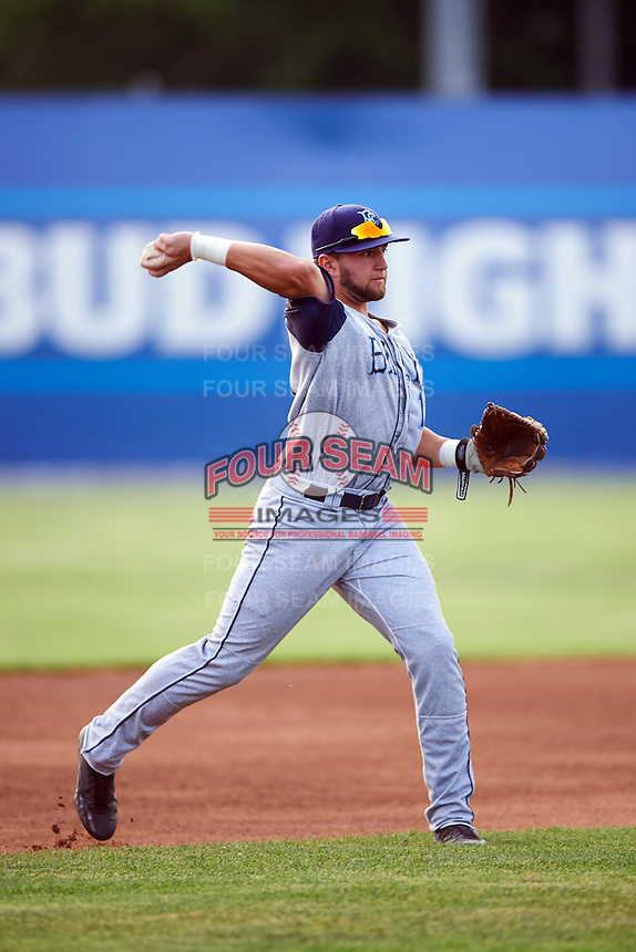 Brooklyn Cyclones third baseman Blake Tiberi (11) throws to first during a game against the Batavia Muckdogs on July 6, 2016 at Dwyer Stadium in Batavia, New York.  Batavia defeated Brooklyn 15-2.  (Mike Janes/Four Seam Images)