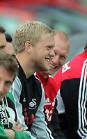 Pictured: David Cornell, goalkeeper. Friday July 2011<br /> Re: Swansea City FC playing rugby at the Mumbles Cricket Club , fundraising for charity, near Swansea south Wales.