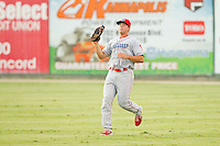 Lakewood BlueClaws right fielder Brian Pointer (32) makes a catch during the South Atlantic League game against the Kannapolis Intimidators at CMC-Northeast Stadium on August 14, 2013 in Kannapolis, North Carolina.  The Intimidators defeated the BlueClaws 10-2.  (Brian Westerholt/Four Seam Images)