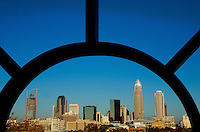 The uptown Charlotte is framed between architectural detailing in Charlotte, N.C.
