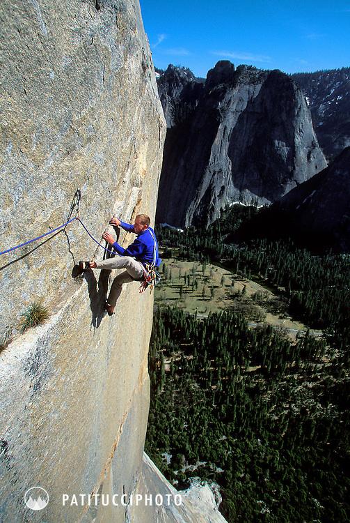 Tommy Caldwell and Nick Sagar free climbing the Muir Wall on Yosemite's El Capitan
