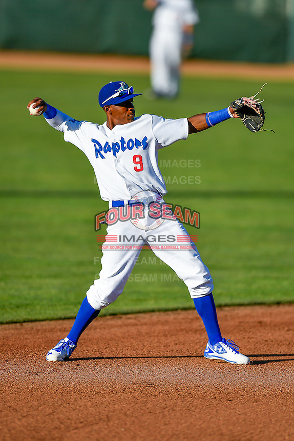 Errol Robinson (9) of the Ogden Raptors during the game against the Grand Junction Rockies in Pioneer League action at Lindquist Field on June 20, 2016 in Ogden, Utah. The Rockies defeated the Raptors 5-2. (Stephen Smith/Four Seam Images)