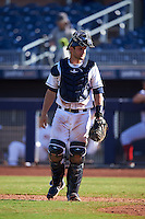 Peoria Javelinas Nick Ciuffo (13), of the Tampa Bay Rays organization, during a game against the Scottsdale Scorpions on October 22, 2016 at Peoria Stadium in Peoria, Arizona.  Peoria defeated Scottsdale 3-2.  (Mike Janes/Four Seam Images)