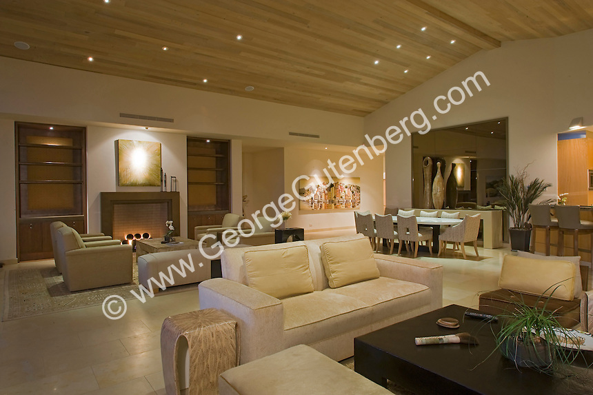 Large modern family and living room featuring beautiful tongue-in-groove ceilings and contemporary furniture and lit fireplace