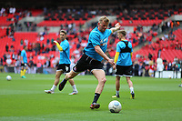 Danny Rowe of AFC Flyde warming up during AFC Fylde vs Salford City, Vanarama National League Play-Off Final Football at Wembley Stadium on 11th May 2019