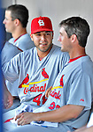 12 March 2012: St. Louis Cardinals catcher Tony Cruz chats in the dugout during a Spring Training game against the Washington Nationals at Space Coast Stadium in Viera, Florida. The Nationals defeated the Cardinals 8-4 in Grapefruit League play. Mandatory Credit: Ed Wolfstein Photo