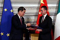 He Lifeng and Luigi Di Maio, agreement between Italian and Chinese Governments called 'The silk way'<br /> Rome March 23rd 2019. The President of the Chinese Democratic Republic visits the Italian Premier to sign economic agreements at Villa Madama.<br /> photo di Samantha Zucchi/Insidefoto