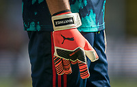 The Puma One goalkeeping gloves of Goalkeeper Emiliano Martínez of Arsenal during the Premier League match between Watford and Arsenal at Vicarage Road, Watford, England on 16 September 2019. Photo by Andy Rowland.