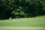 MUSCLE SHOALS, AL - MAY 25: West Florida's Henry Westmoreland leads Lynn's Felix Kvarnstrom up the seventh fairway.during the Division II Men's Team Match Play Golf Championship held at the Robert Trent Jones Golf Trail at the Shoals, Fighting Joe Course on May 25, 2018 in Muscle Shoals, Alabama. Lynn defeated West Florida 3-2 to win the national title. (Photo by Cliff Williams/NCAA Photos via Getty Images)
