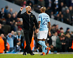 Manchester City's Pep Guardiola gets sent off at half time during the Champions League Quarter Final 2nd Leg match at the Etihad Stadium, Manchester. Picture date: 10th April 2018. Picture credit should read: David Klein/Sportimage