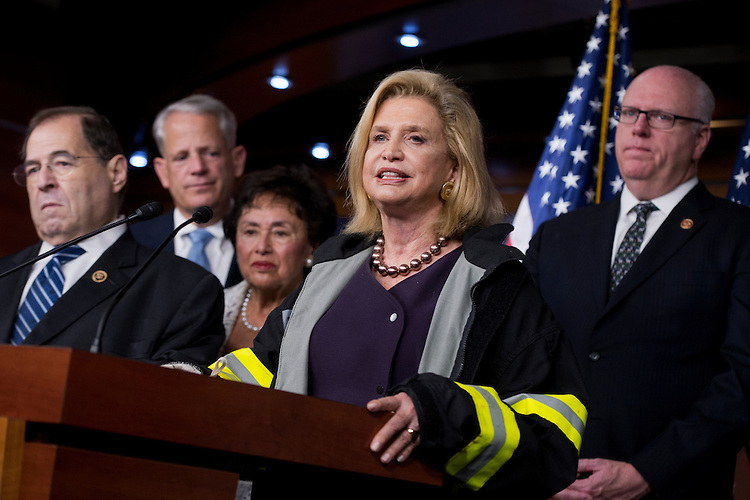 UNITED STATES - DECEMBER 18: From left, Reps. Jerrold Nadler, D-N.Y., Steve Israel, D-N.Y., Nita Lowey, D-N.Y., Carolyn Maloney, D-N.Y., and Joe Crowley, D-N.Y., attend a news conference in the Capitol Visitor Center after the House passed the omnibus spending bill, December 18, 2015. Maloney wears an FDNY coat to note that the House included renewal of the Zadroga Act in the bill. (Photo By Tom Williams/CQ Roll Call)
