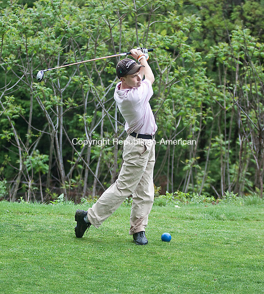 WOLCOTT, CT- MAY 09  2011-050912DA09- Cheshires,  Jake Ecke tee's of against Wolcott during the Stigberg Golf Tournament held at Farmingbury Hills Golf Course in Wolcott on Wednesday..Darlene Douty Republican American