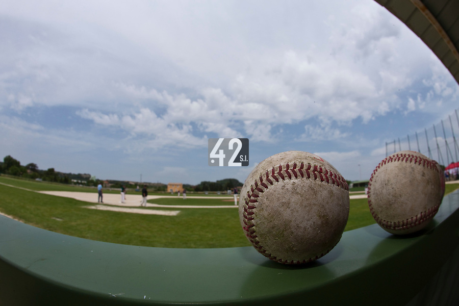 22 May 2009: Balls are seen in the dugout during the 2009 challenge de France, a tournament with the best French baseball teams - all eight elite league clubs - to determine a spot in the European Cup next year, at Montpellier, France.
