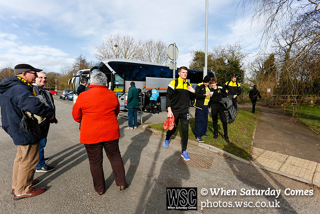 Southport players disembarking from the team bus. Darlington 1883 v Southport, National League North, 16th February 2019. The reborn Darlington 1883 share a ground with the town's Rugby Union club. <br /> After several years of relegations, bankruptcies, and ground moves, the club is fan owned, and back on an even keel in the National League North.<br /> A 0-0 draw with Southport was marred by a broken leg and dislocated knee suffered by Sam Muggleton, Darlington's on loan left back.<br /> Both teams finished the season in lower mid table.