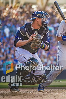 22 June 2013: San Diego Padres catcher Yasmani Grandal in action against the Los Angeles Dodgers at Petco Park in San Diego, California. The Dodgers defeated the Padres 6-1 in the third game of their 4-game Divisional Series. Mandatory Credit: Ed Wolfstein Photo *** RAW (NEF) Image File Available ***