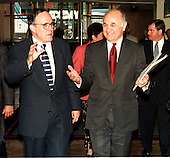 New York City Mayor Rudolph Giuliani and Nicholas Scoppetta, New York City Commissioner of the Administration for Children's Services talk on their way out of the Renaissance Hotel after their speeches to the foster care conference at  the Renaissance Hotel in Washington, D.C. on June 26, 1997..Credit: Ron Sachs / CNP