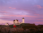 York County, ME<br /> Cape Neddick (&quot;Nubble&quot;) Light Station (1879) under a pink sunset sky