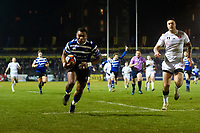 Semesa Rokoduguni of Bath Rugby dives for the try-line in the first half. Premiership Rugby Cup match, between Bath Rugby and Gloucester Rugby on February 3, 2019 at the Recreation Ground in Bath, England. Photo by: Patrick Khachfe / Onside Images