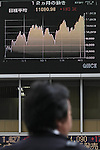 Apr 21, 2010 - Tokyo, Japan - A pedestrian walks past an electronic stock board outside a securities firm in Tokyo, Japan, on April 21, 2010. The 225-issue Nikkei Stock Average gained 168.09 points, or 1.54 percent, from Tuesday at 11,068.77.