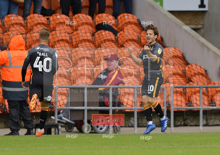 08/09/2018 Sky Bet League 1 Blackpool v Bradford City<br /> <br /> Jack Payne celebrates after scoring Bradford City's second goal