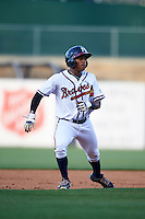 Mississippi Braves outfielder Mallex Smith (1) runs the bases during a game against the Pensacola Blue Wahoos on May 27, 2015 at Trustmark Park in Pearl, Mississippi.  Pensacola defeated Mississippi 7-5 in fourteen innings.  (Mike Janes/Four Seam Images)