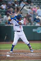 Ogden Raptors second baseman Kenneth Betancourt (9) at bat during a Pioneer League game against the Great Falls Voyagers at Lindquist Field on August 23, 2018 in Ogden, Utah. The Ogden Raptors defeated the Great Falls Voyagers by a score of 8-7. (Zachary Lucy/Four Seam Images)