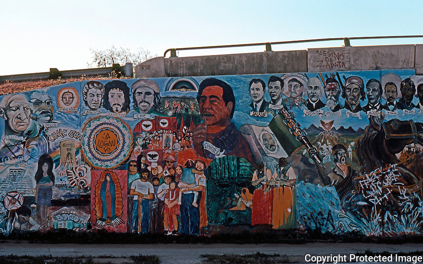 San Diego: Chicano Park Murals.  (Photo January 1977)