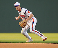 Infielder Steve Wilkerson (17) of the Clemson Tigers in a game against the Elon College Phoenix on March 21, 2012, at Fluor Field at the West End in Greenville, South Carolina. Clemson won 4-2, giving head coach Jack Leggett his 1,200th win. (Tom Priddy/Four Seam Images)