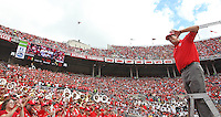 Fired OSU Marching Band director Jon Waters leads the alumni band during a break in the first quarter in the game against Kent State at Ohio Stadium on September 13, 2014.  (Chris Russell/Dispatch Photo)