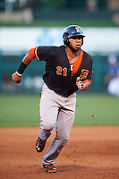Fresno Grizzles first baseman Jon Singleton (21) running the bases during a game against the Oklahoma City Dodgers on June 1, 2015 at Chickasaw Bricktown Ballpark in Oklahoma City, Oklahoma.  Fresno defeated Oklahoma City 14-1.  (Mike Janes/Four Seam Images)