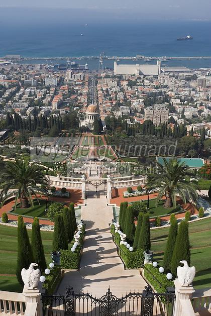 Asie/Israël/Galilée/Haïfa: Temple et Jardins Bahaïs sur le Mont Carmel - Panorama sur la ville et le port