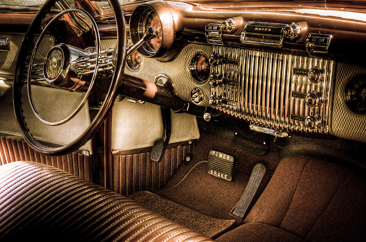 The interior of a classic American motorcar