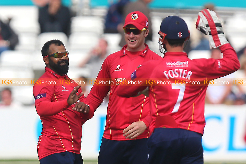 Ashar Zaidi of Essex (L) celebrates taking the wicket of Tom Helm during Essex Eagles vs Middlesex, Royal London One-Day Cup Cricket at The Cloudfm County Ground on 12th May 2017