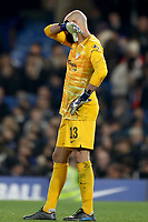 30th October 2019; Stamford Bridge, London, England; English Football League Cup, Carabao Cup, Chelsea Football Club versus Manchester United; A dejected Wilfredo Caballero of Chelsea - Strictly Editorial Use Only. No use with unauthorized audio, video, data, fixture lists, club/league logos or 'live' services. Online in-match use limited to 120 images, no video emulation. No use in betting, games or single club/league/player publications