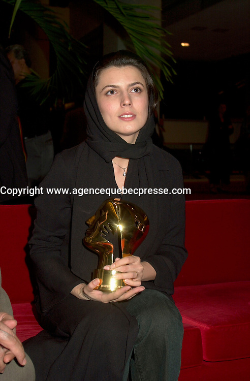 Sept 2, 2002, Montreal, Quebec, Canada<br /> <br /> Leila Hatami  receive the <br /> Best Actress award , for the movie<br /> THE DESERTED STATION by Alireza Raisian<br />  at the closing ceremony of the 2002 Montreal World Films Festival, Sept 2 2002,<br />  in  Montreal, Quebec, Canada<br /> <br /> <br /> Mandatory Credit: Photo by Pierre Roussel- Images Distribution. (&copy;) Copyright 2002 by Pierre Roussel <br /> <br /> NOTE : <br />  Nikon D-1 jpeg opened with Qimage icc profile, saved in Adobe 1998 RGB<br /> .Uncompressed  Uncropped  Original  size  file availble on request.