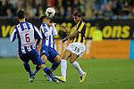 Nederland , Arnhem , 29 maart 2014<br /> Eredivisie<br /> seizoen 2013-2014<br /> Vitesse - Heerenveen<br /> Patrick van Aanholt &reg; in duel met Heerenveen spits Bilal Basacikoglu (m)
