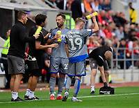 Lincoln City's Joe Morrell pours water over himself during a break in play<br /> <br /> Photographer Chris Vaughan/CameraSport<br /> <br /> The EFL Sky Bet Championship - Rotherham United v Lincoln City - Saturday 10th August 2019 - New York Stadium - Rotherham<br /> <br /> World Copyright © 2019 CameraSport. All rights reserved. 43 Linden Ave. Countesthorpe. Leicester. England. LE8 5PG - Tel: +44 (0) 116 277 4147 - admin@camerasport.com - www.camerasport.com