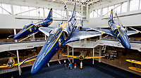 A-4 Skyhawks once flown by the Blue Angels now hang in the atrium of the National Naval Aviation Museum in Pensacola.<br /> <br /> COLIN HACKLEY PHOTO