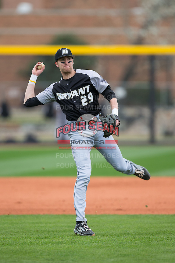 Jacob Marotta (29) of the Bryant Bulldogs takes infield practice prior to the game against the Coastal Carolina Chanticleers at Springs Brooks Stadium on March 13, 2015 in Charlotte, North Carolina.  The Chanticleers defeated the Bulldogs 7-2.  (Brian Westerholt/Four Seam Images)