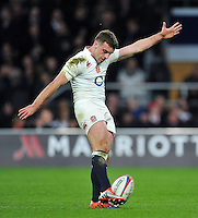 George Ford of England kicks for the posts. RBS Six Nations match between England and France on March 21, 2015 at Twickenham Stadium in London, England. Photo by: Patrick Khachfe / Onside Images