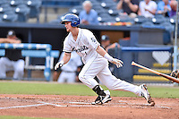 Asheville Tourists second baseman Brendan Rodgers (1) swings at a pitch during a game against the Hagerstown Suns at McCormick Field on June 6, 2016 in Asheville, North Carolina. The Tourists defeated the Suns 12-10. (Tony Farlow/Four Seam Images)