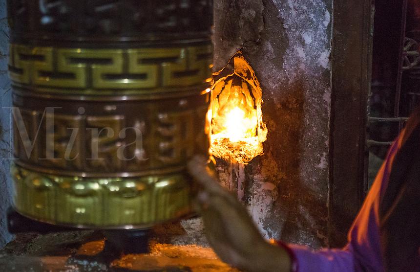 Kathmandu Nepal Boudhanath Stupa prayer wheel at the famous religious temple