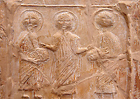 Detail of a 6th-7th Century Eastern Roman Byzantine  Christian Terracotta tiles depicting Christ changing Water into wine - Produced in Byzacena -  present day Tunisia. <br />