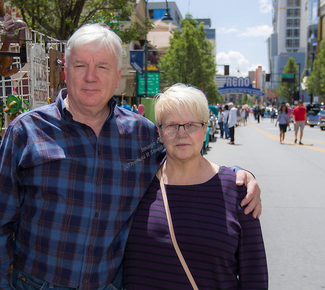 Steve and Angie Poston from St Louis during Hot August Nights Spring Fever in downtown Reno, Nevada on Friday, May 18, 2018.
