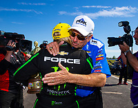 Apr 22, 2018; Baytown, TX, USA; NHRA top fuel driver Brittany Force (left) celebrates with father John Force after winning the Springnationals at Royal Purple Raceway. Mandatory Credit: Mark J. Rebilas-USA TODAY Sports