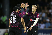 Max Waller of Somerset celebrates taking the wicket of Daniel Lawrence during Essex Eagles vs Somerset, Vitality Blast T20 Cricket at The Cloudfm County Ground on 7th August 2019