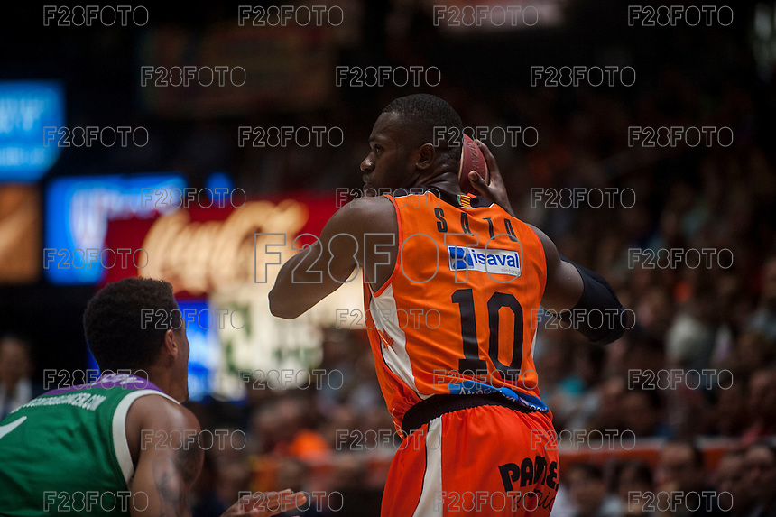 VALENCIA, SPAIN - MARCH 27: Romain Sato during ENDESA LEAGUE Play Off match between Valencia Basket Club and Unicaja at Fonteta Stadium on March, 2016 in Valencia, Spain